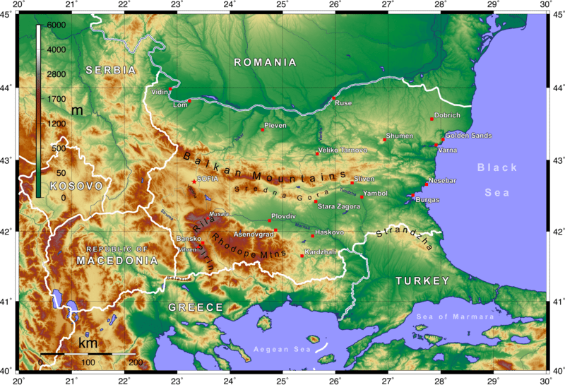 Balkan Mountains Map Mountain Ranges in Bulgaria