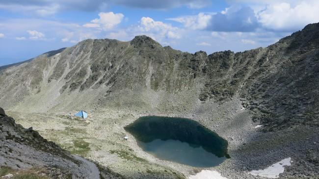 Ledenoto Ezero Hut and the Icy Lake, seen from Musala