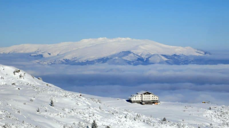 The dome of Vitosha seen from the Rila Mountains