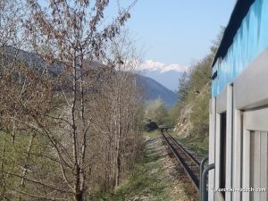 The narrow gauge train and Pirin Mountains