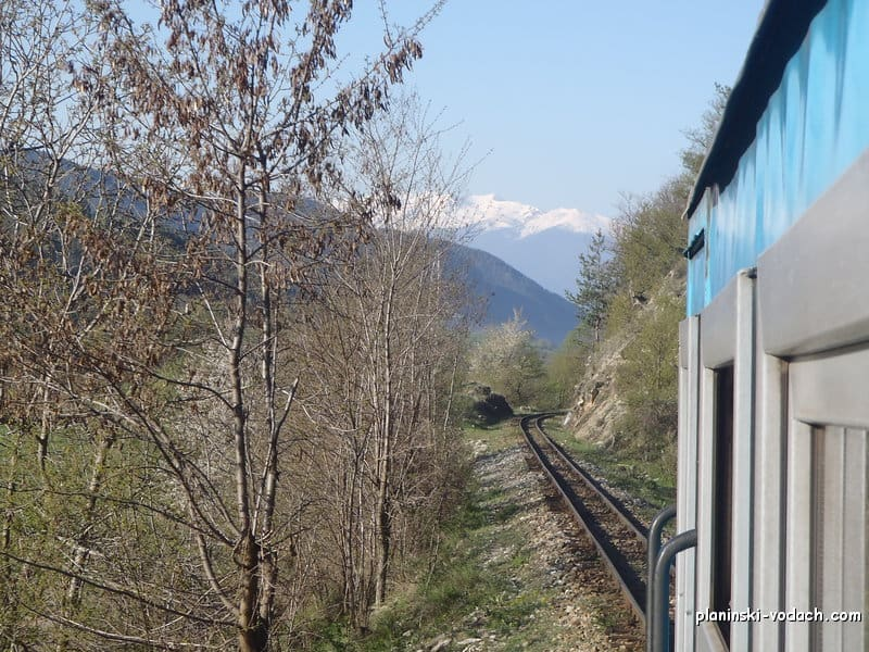The narrow gauge train and Pirin Mountains