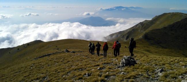 Along the main ridge of Slavyanka Mountains