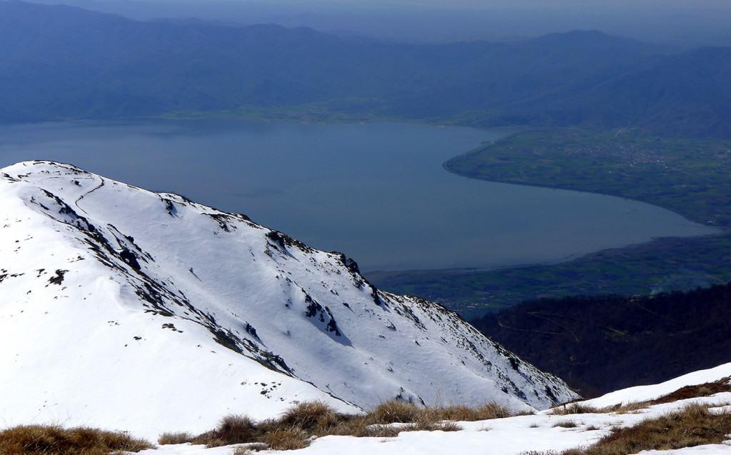 Kerkini Lake in Greece seen from the main ridge of Belasitsa Mountains