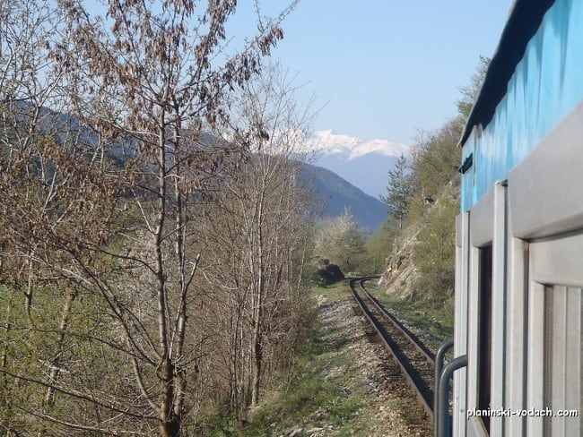 Pirin Mountains seen from the train