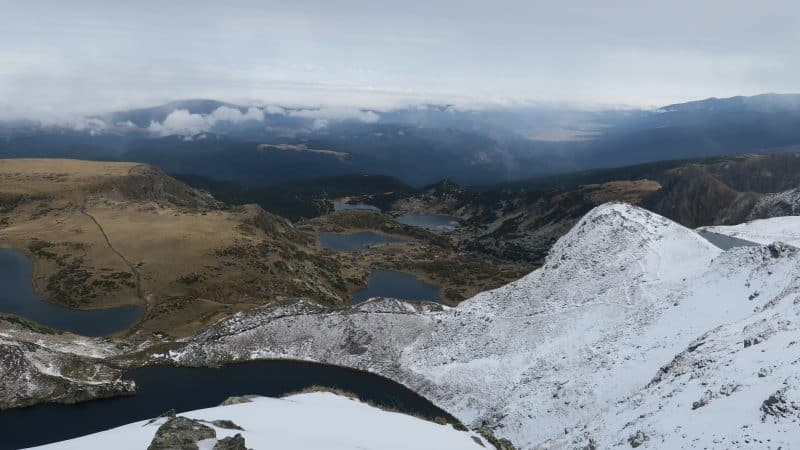 The Seven Rila Lakes after an October snowfall