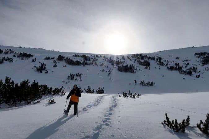 Snowshoe walking in Bezbog area