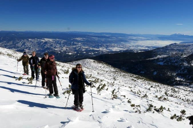 Snowshoe walking in Bezbog area