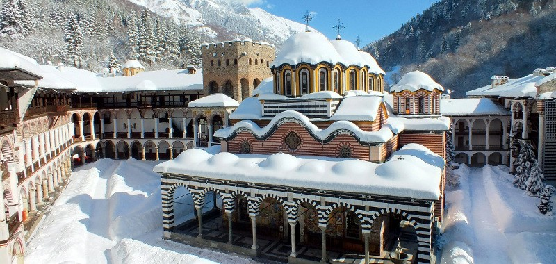 The Rila Monastery in snow